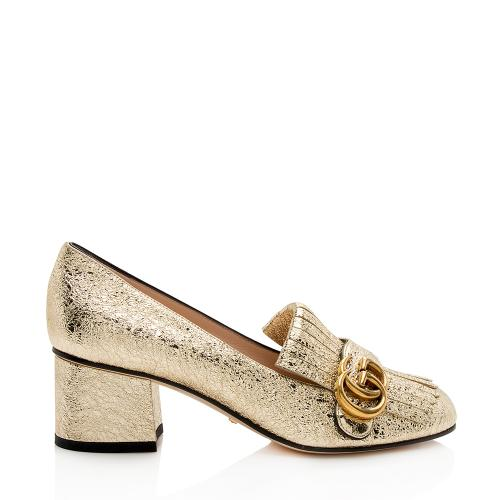 Gucci Metallic Leather GG Marmont Pumps - Size 7 / 37