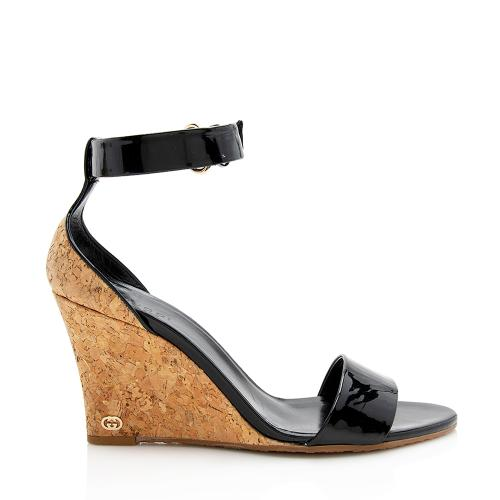 Gucci Patent Leather Cork Santander Wedge Sandals - Size 8 / 38