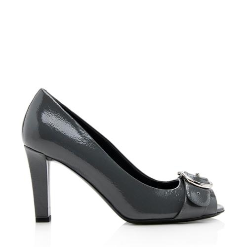 Gucci Patent Leather GG Peep-Toe Pumps - Size 7.5 / 37.5