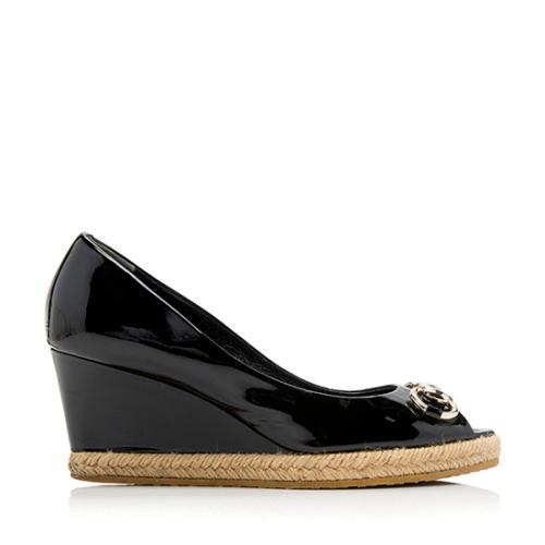 Gucci Patent Leather Horsebit Peep Toe Wedges - Size 6.5 / 36.5