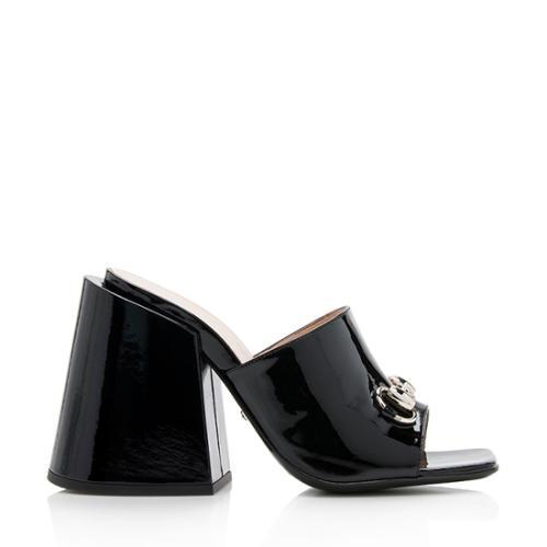 Gucci Patent Leather Lexi Horsebit Sandals - Size 7 / 37