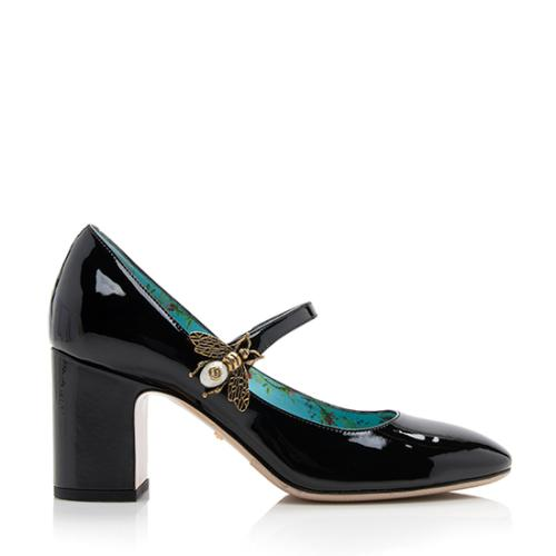 Gucci Patent Leather Pearl Bee Mary Jane Pumps - Size 7 / 37