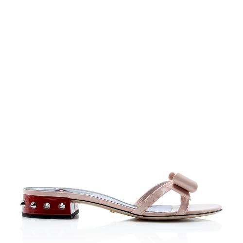 Gucci Patent Leather Spiked Stud Bow Sandals - Size 8 / 38