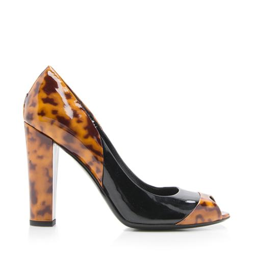 Gucci Patent Leather Tortoise Shell Peep Toe Pumps - Size 8 / 38