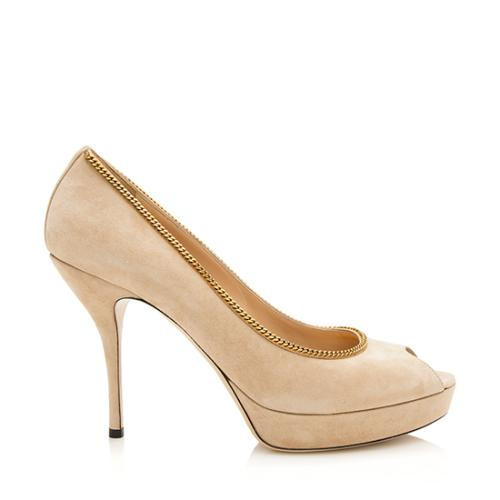 Gucci Suede Chain Peep Toe Pumps - Size 10 / 40