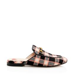 Gucci Tweed Plaid Horsebit Princetown Mules - Size 7.5 / 37.5