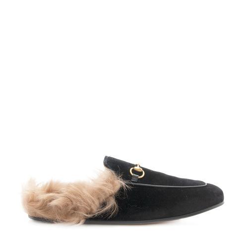 Gucci Velvet Fur Princeton Slipper - Size 9.5 / 39.5