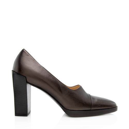 Gucci Vintage Leather Square Toe Pumps - Size 7.5 / 37.5