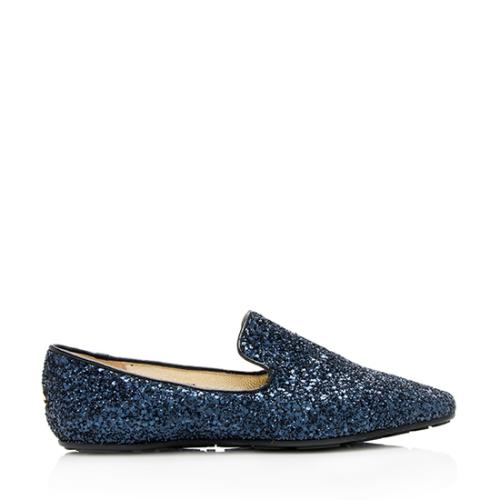 Jimmy Choo Coarse Glitter Wheel Smoking Slippers - Size 8.5 / 38.5