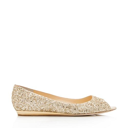 Jimmy Choo Glitter Beck Flats - Size 10 / 40