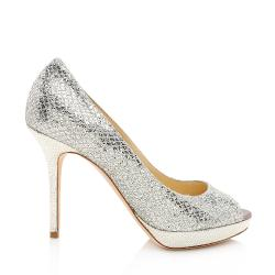 Jimmy Choo Glitter Lame Dahlia Peep Toe Pumps - Size 7 / 37