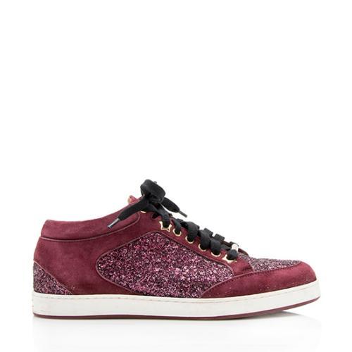 Jimmy Choo Glitter Suede Miami Sneakers - Size 7.5 / 37.5