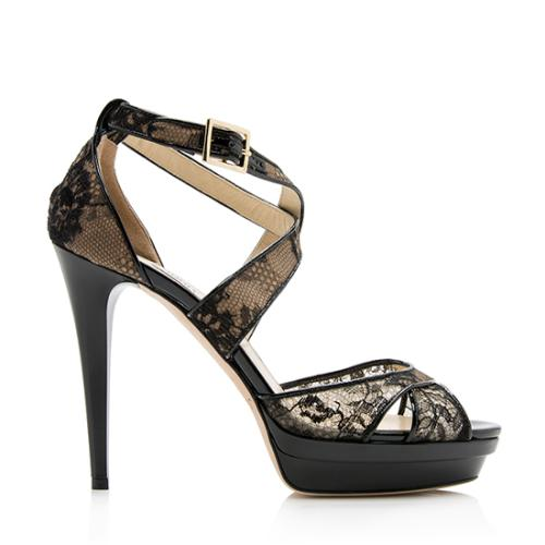 Jimmy Choo Lace Mesh Lottie Sandals - Size 9 / 39
