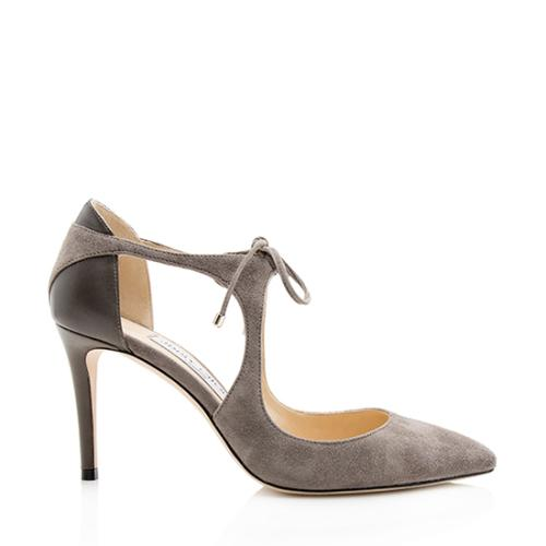 Jimmy Choo Leather Suede Vanessa Lace Up Pumps - Size 6.5 / 36.5