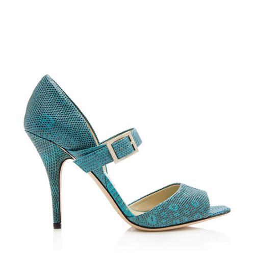 Jimmy Choo Lizard Mary Jane Pumps - Size 9 / 39