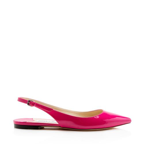 Jimmy Choo Patent Leather Erin Slingback Flats - Size 8 / 38