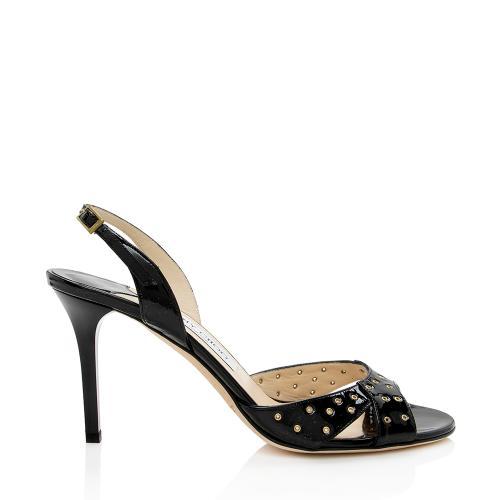 Jimmy Choo Patent Leather Grommet Slingback Sandals - Size 9 / 39