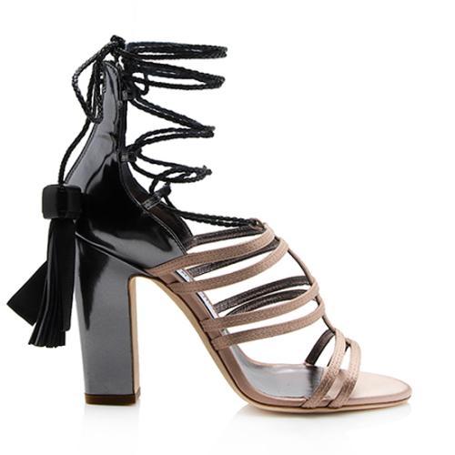 Jimmy Choo Satin Leather Tassel Diamond Ankle Strap Sandals - Size 7 / 37