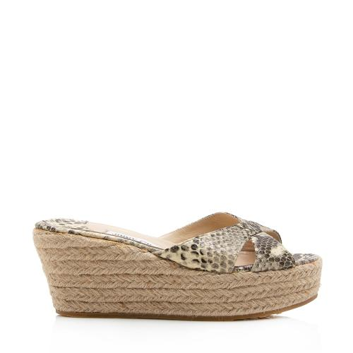 Jimmy Choo Snakeskin Espadrille Wedge Sandals - Size 7 / 37