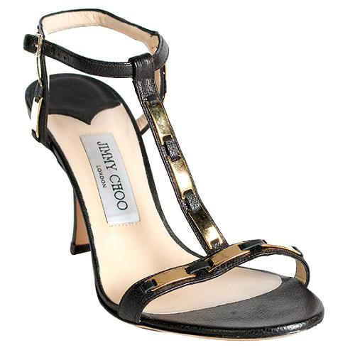 Jimmy Choo Studded T-Strap Sandals - Size 8.5 / 38.5