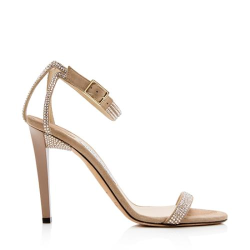 Jimmy Choo Suede Crystal Daisy Sandals - Size 7 / 37