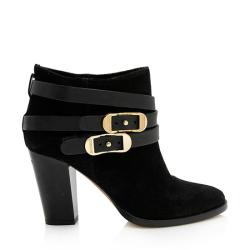 Jimmy Choo Suede Melba Buckle Ankle Boots - Size 7 / 37