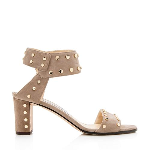 Jimmy Choo Suede Studded Veto Sandals - Size 7 / 37