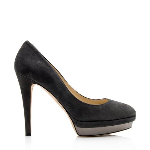 Jimmy Choo Suede Talent Platform Pumps - Size 8 / 38
