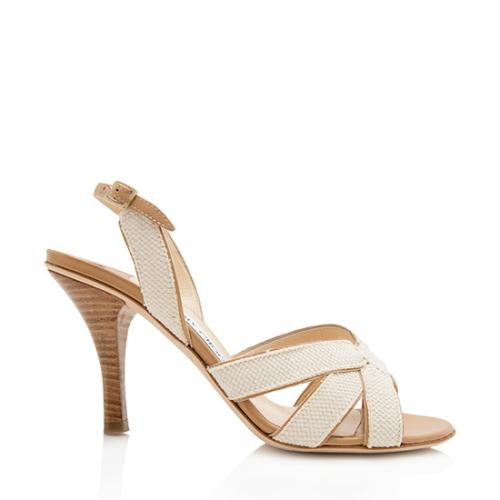 Jimmy Choo Woven Leather Harvey Sandals - Size 8 / 38