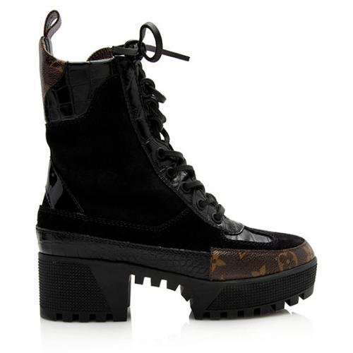 Louis Vuitton Monogram Canvas Suede Laureate Desert Platform Boots - Size 5 / 35