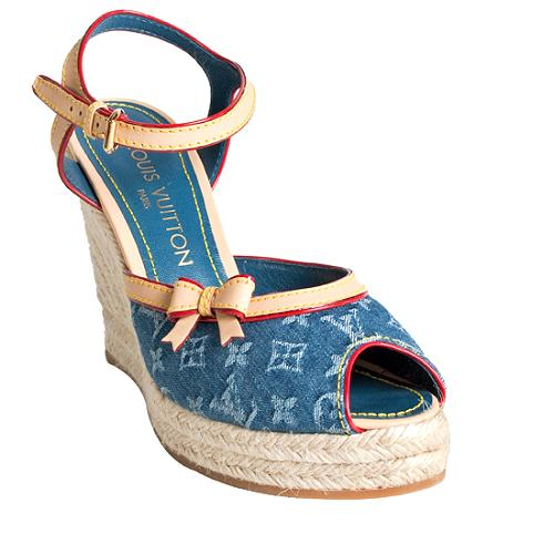 Louis Vuitton Monogram Denim Espadrille Sandals - Size 5.5 / 35.5