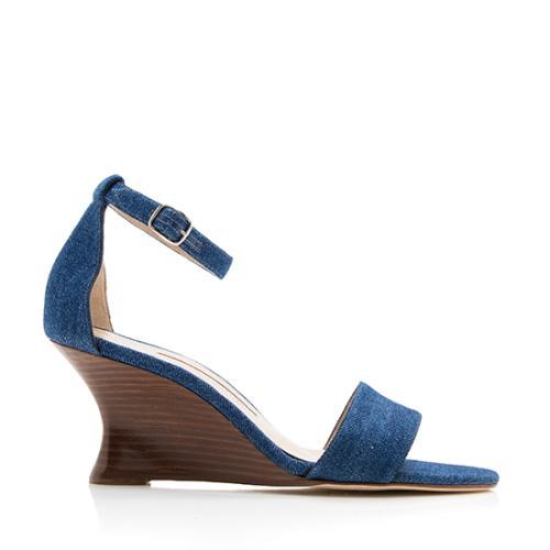 Manolo Blahnik Denim Lauratowe Wedge Sandals - Size 8.5 / 38.5