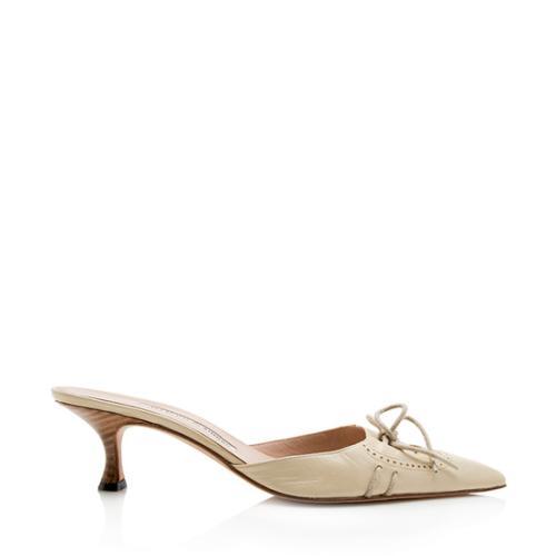 Manolo Blahnik Leather Lace Up Kitten Heel Pumps - Size 8.5 / 38.5