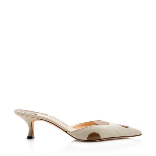 Manolo Blahnik Linen Leather Polka Dot Kitten Heel Pumps - Size 8.5 / 38.5
