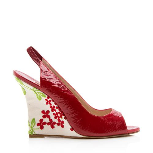 Manolo Blahnik Patent Leather Floral Maniapla Wedges - Size 9.5 / 39.5