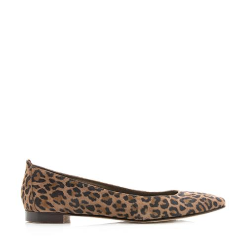 Manolo Blahnik Suede Leopard Print Lee Flats - Size 7 / 37