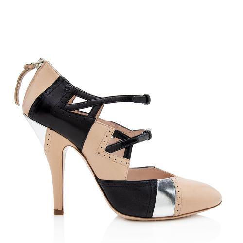 Miu Miu Leather Tricolor Double Buckle Mary Jane Pumps - Size 8.5 / 38.5