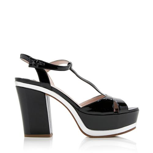 Miu Miu Patent Leather T-Strap Platform Sandals - Size 10 / 40