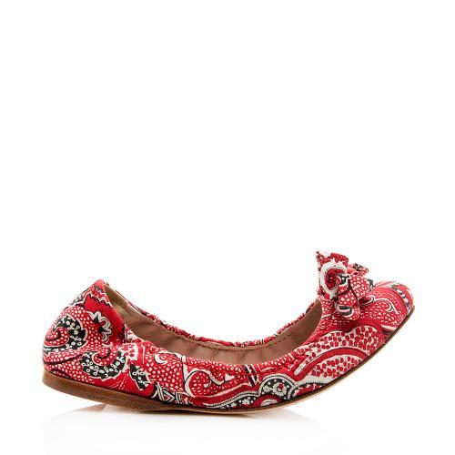 Miu Miu Printed Bow Flats - Size 6 / 36