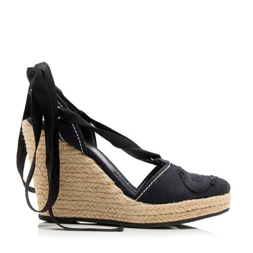 Prada Canvas Espadrille Wedges - Size 8 / 38