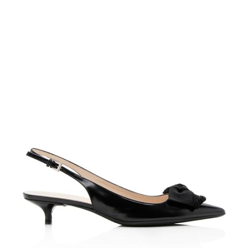 Prada Leather Bow Slingback Pumps - Size 8.5 / 38.5