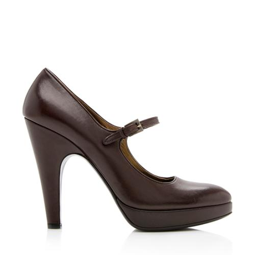 Prada Leather Mary Jane Platform Pumps - Size 9 / 39