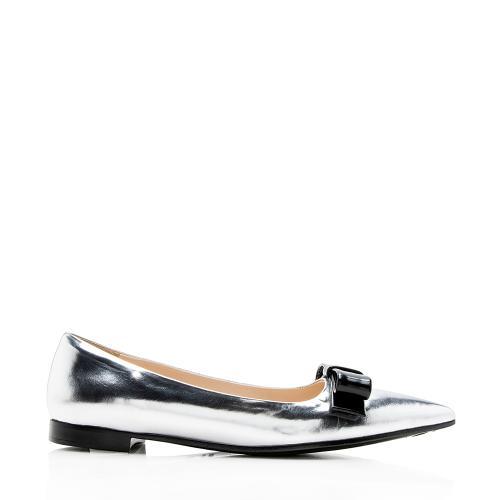 Prada Metallic Leather Bow Flats - Size 6.5 / 36.5