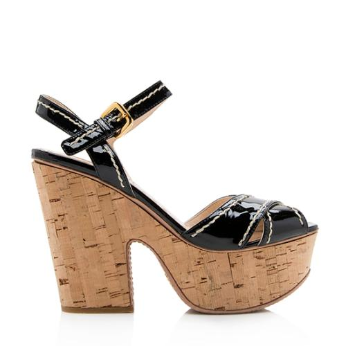 Prada Patent Leather Cork Platform Sandals - Size 9 / 39