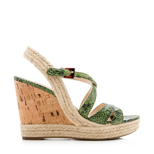 Prada Sport Snakeskin Cork Wedge Sandals -  Size 5.5 / 35.5