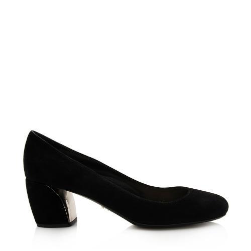 Prada Suede Block Heel Pumps - Size 8.5 / 38.5