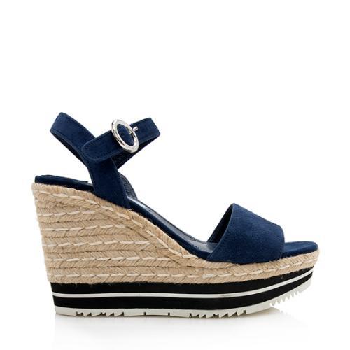 Prada Suede Espadrille Sandals - Size 8 / 38