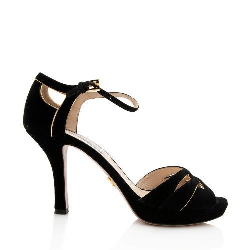 Prada Suede Peep Toe Sandals - Size 10 / 40