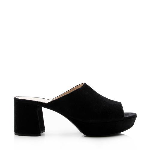 Prada Suede Platform Slide Sandals - Size 9 / 39