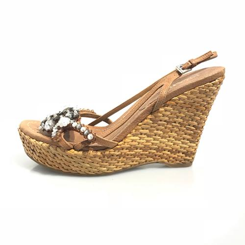 Prada Leather Wicker Beaded Wedge Sandals - Size 8.5 / 38.5